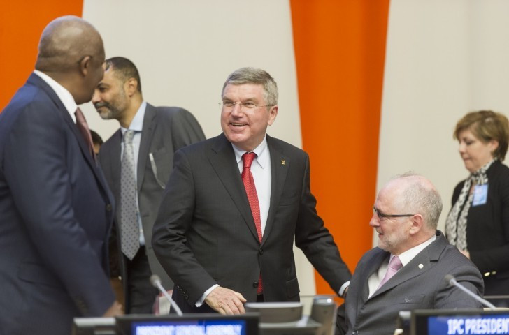 In June 2016, a cooperation agreement was extended between International Olympic Committee President Thomas Bach, centre, and then International Paralympic Committee counterpart Sir Philip Craven ©Getty Images