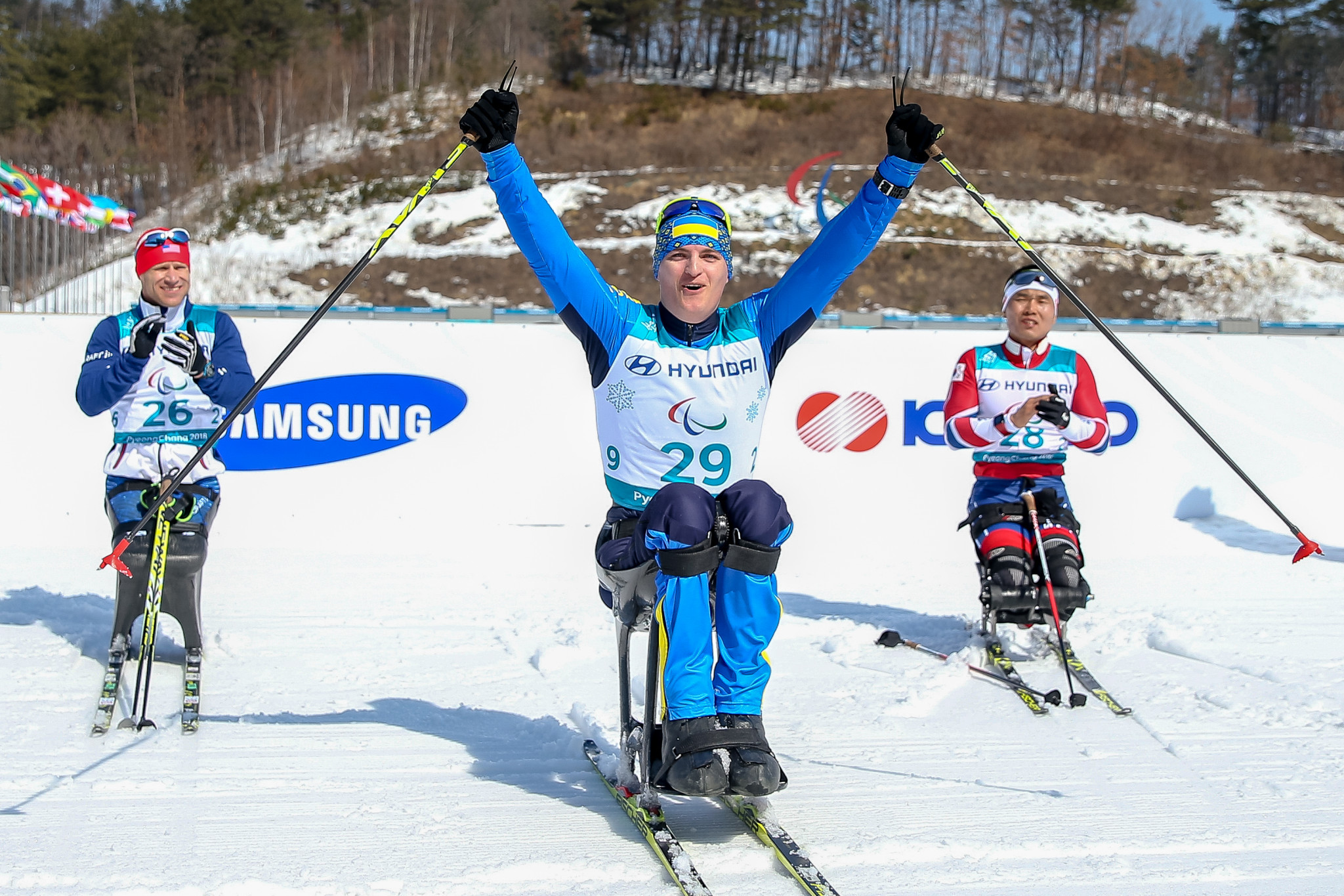Ukraine's Maksym Yarovyi won gold in the men's sitting 15 kilometres cross-country race on day two of the Pyeongchang 2018 Winter Paralympics ©Getty Images