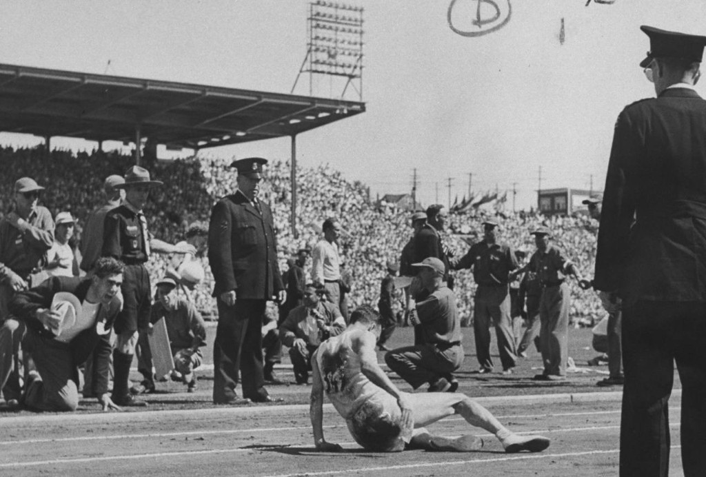 5. Jim Peters collapses at end of the marathon in the 1954 British Empire Games