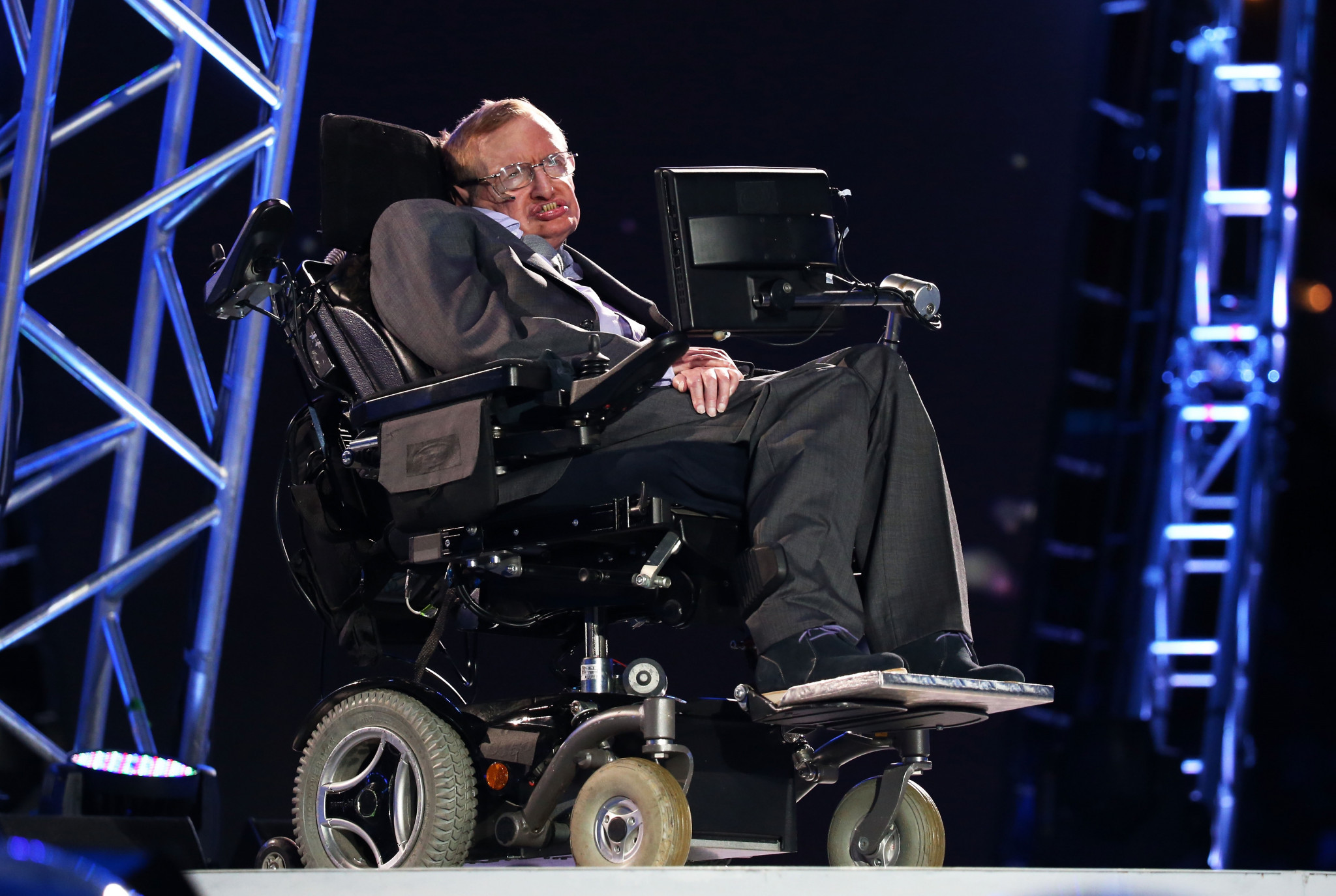 Stephen Hawking spoke during the Opening Ceremony of the London 2012 Paralympic Games ©Getty Images