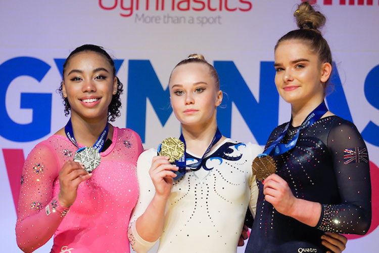 The all-around medallists at the FIG World Cup at Arena Birmingham - from left, Margzetta Frazier, Angelina Melnikova and Alice Kinsella ©FIG