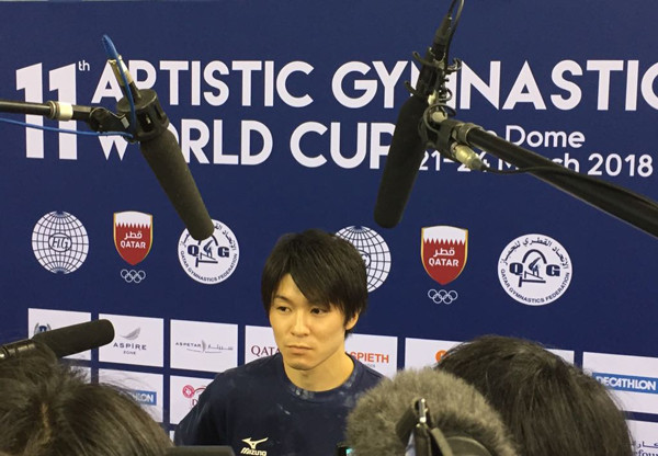 Japan's multiple Olympic and world medallist Kōhei Uchimura faces the music after a second disappointing day at the FIG World Cup in Doha's Aspire Dome ©FIG