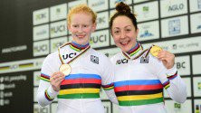 Britain's Sophie Thornhill and Helen Scott set a blistering world record as they claimed the women's tandem time trial gold medal ©British Cycling