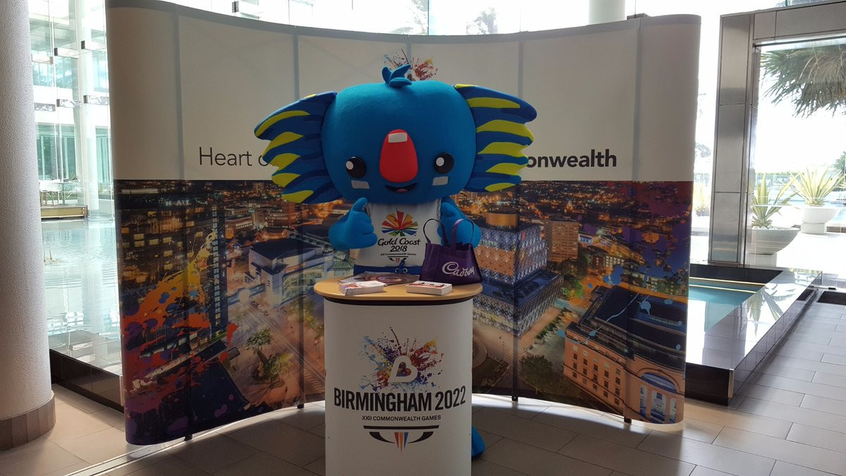 Birmingham are due to host the 2022 Commonwealth Games, following Gold Coast 2018, whose mascot Borobi dropped in on their stand at the CGF symposium today ©Twitter