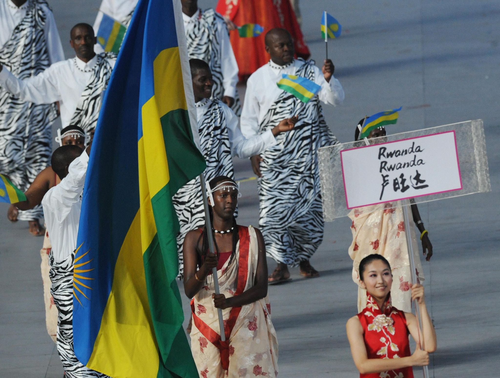 Rwanda athletes at the Beijing 2008 Games - in future all Rwandan athletes competing internationally will require medical insurance ©Getty Images