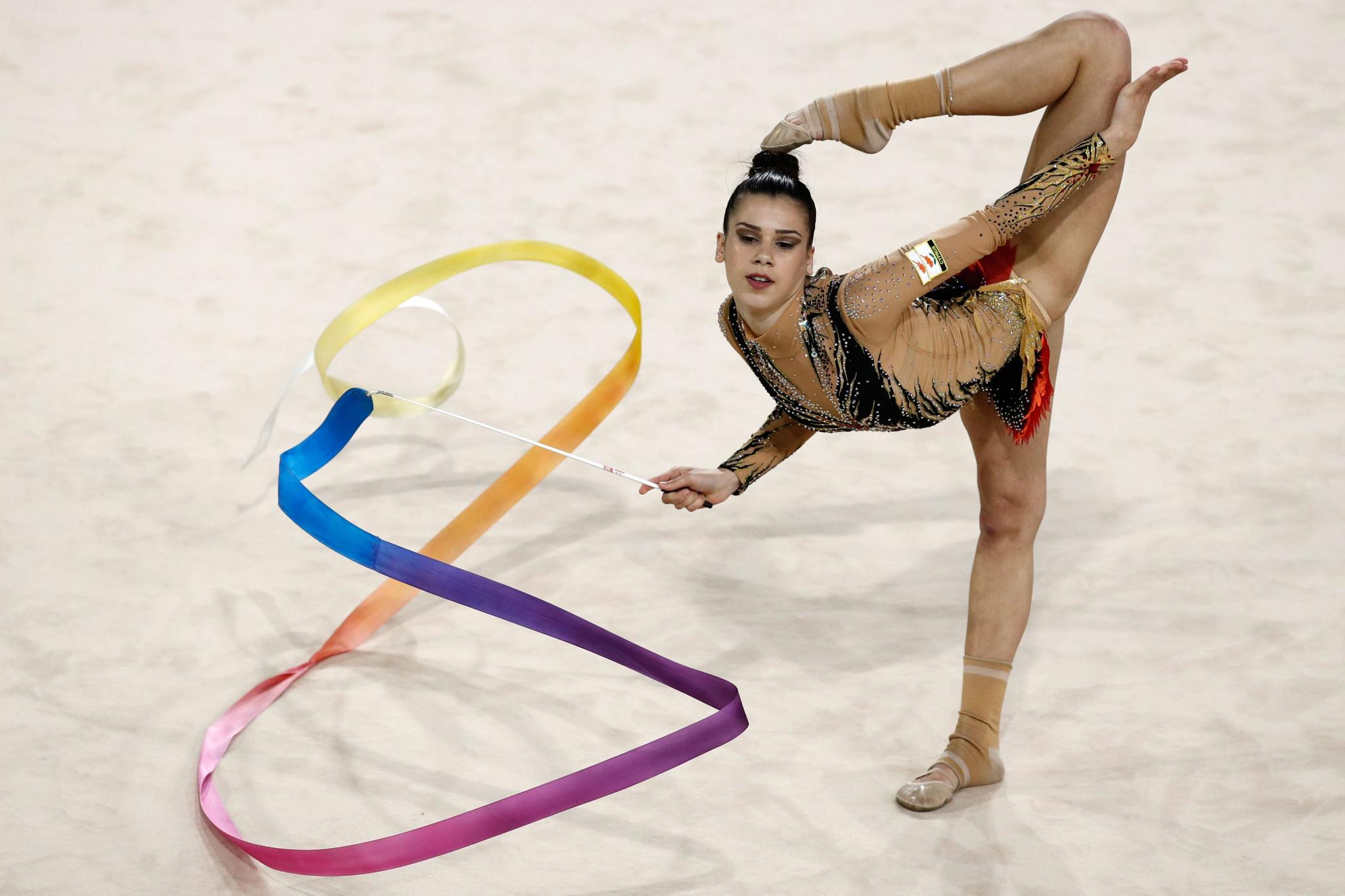Diamanto Evripidou followed her rhythmic gymnastics team gold ©Getty Images
