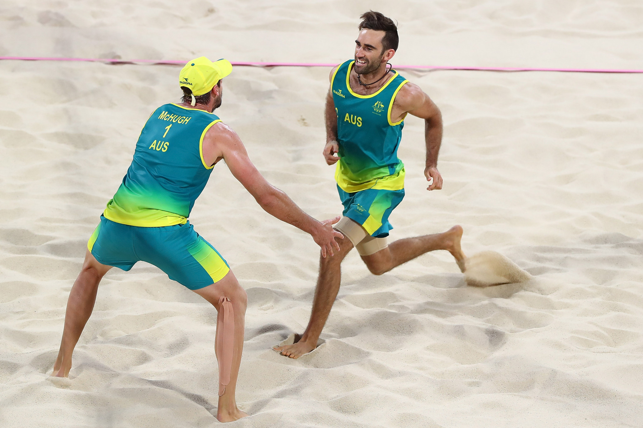 Chris McHugh and Damien Schumann of Australia were crowned the first Commonwealth Games beach volleyball champions ©Getty Images