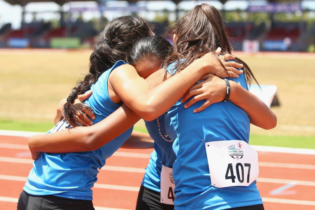 Samoa claimed girl's 4x100m relay bronze in the final race of athletics at the 2015 Commonwealth Youth Games