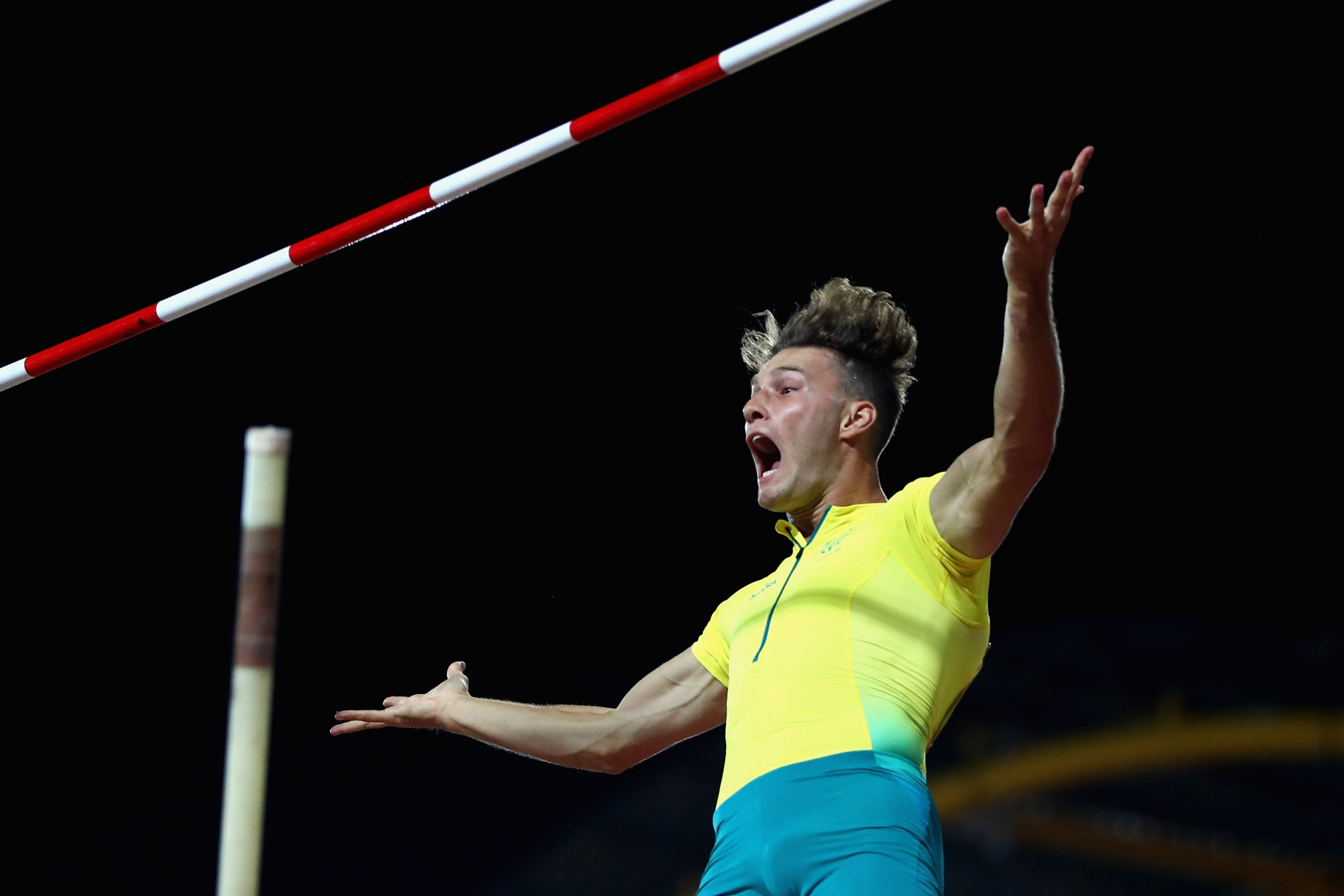 Kurtis Marschall won the men's pole vault final for the host nation ©Getty Images