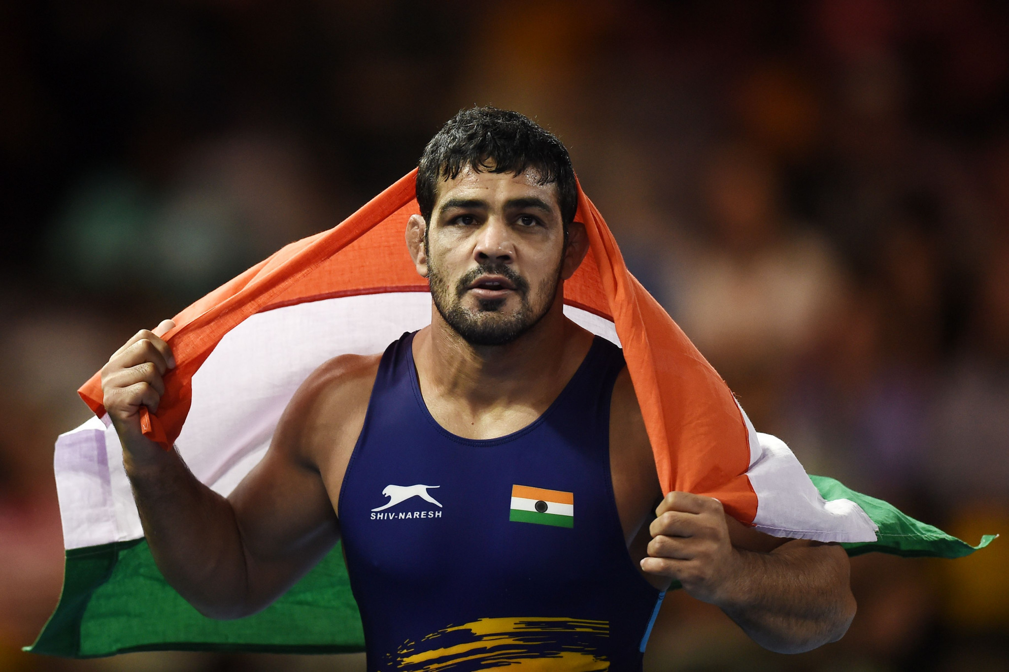 India's Sushil Kumar won the men's 74 kilograms wrestling event at Gold Coast 2018, securing the third Commonwealth Games gold medal of his career ©Getty Images