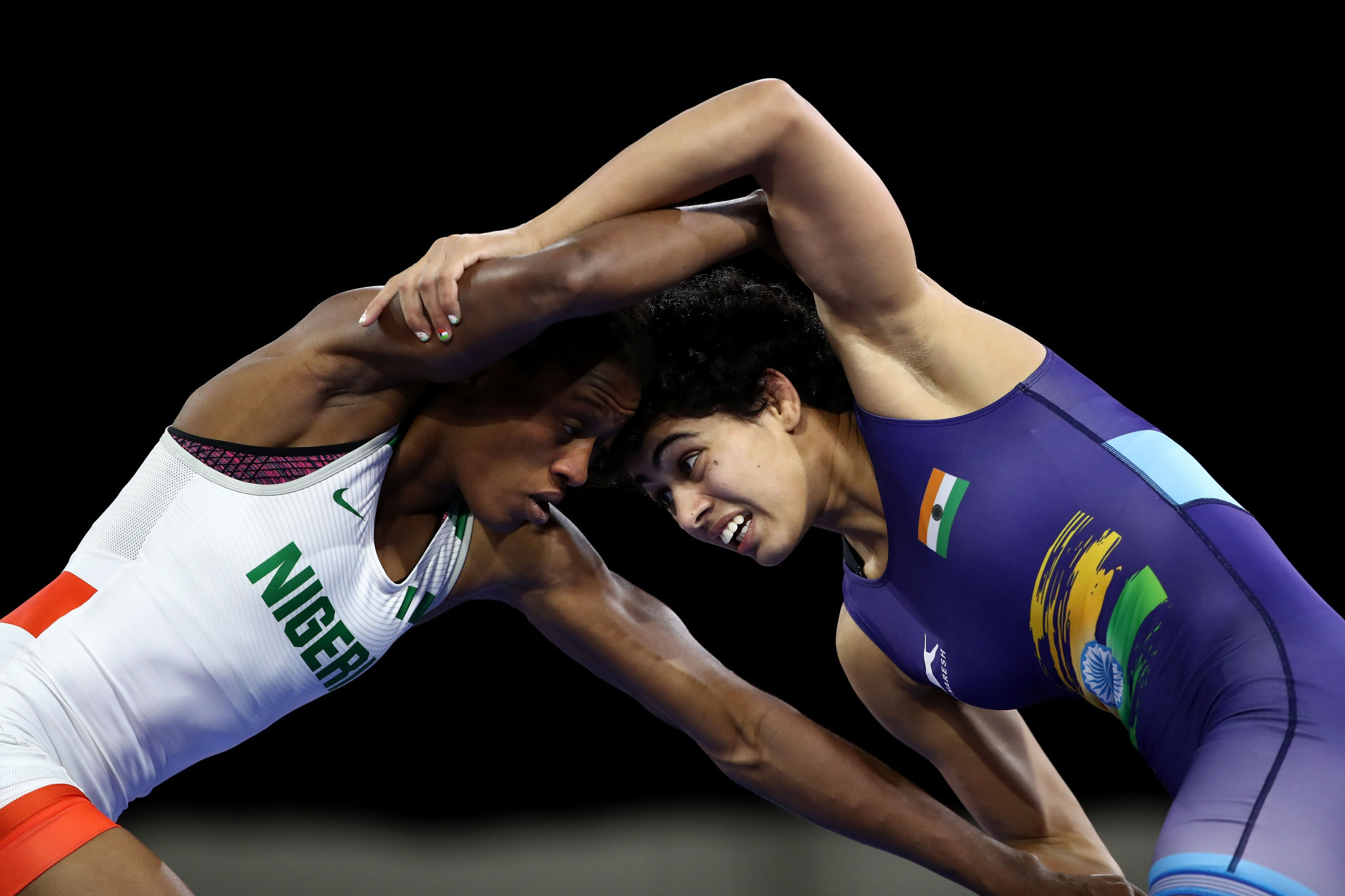 Odunayo Adekuoroye became the first Nigerian freestyle wrestler to win two Commonwealth Games gold medals ©Getty Images