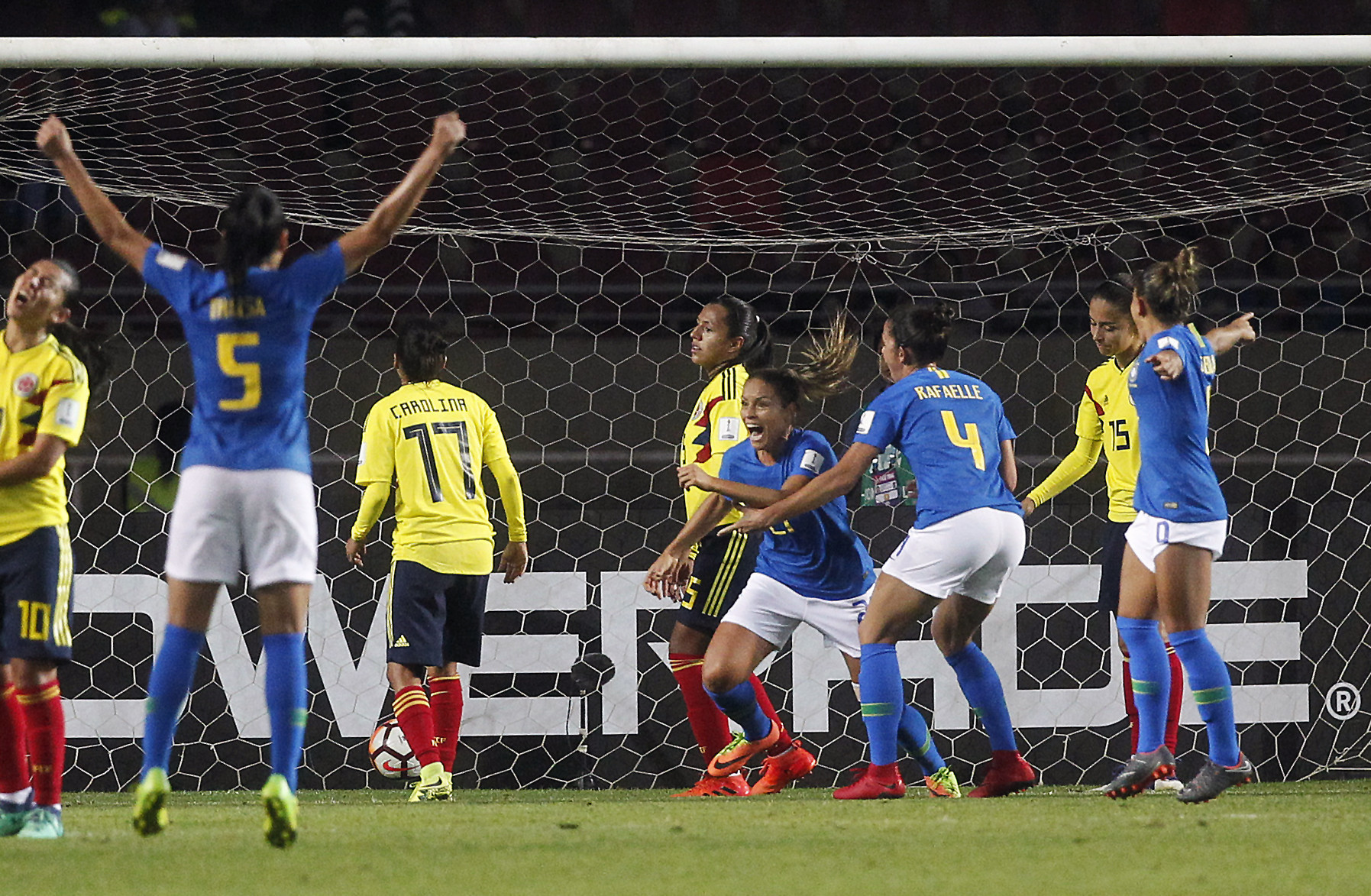 Mônica celebrates scoring her second goal of the match and fourth of the tournament as Brazil beat Colombia 3-0 to win the Copa América Femenina for a third consecutive time ©Getty Images