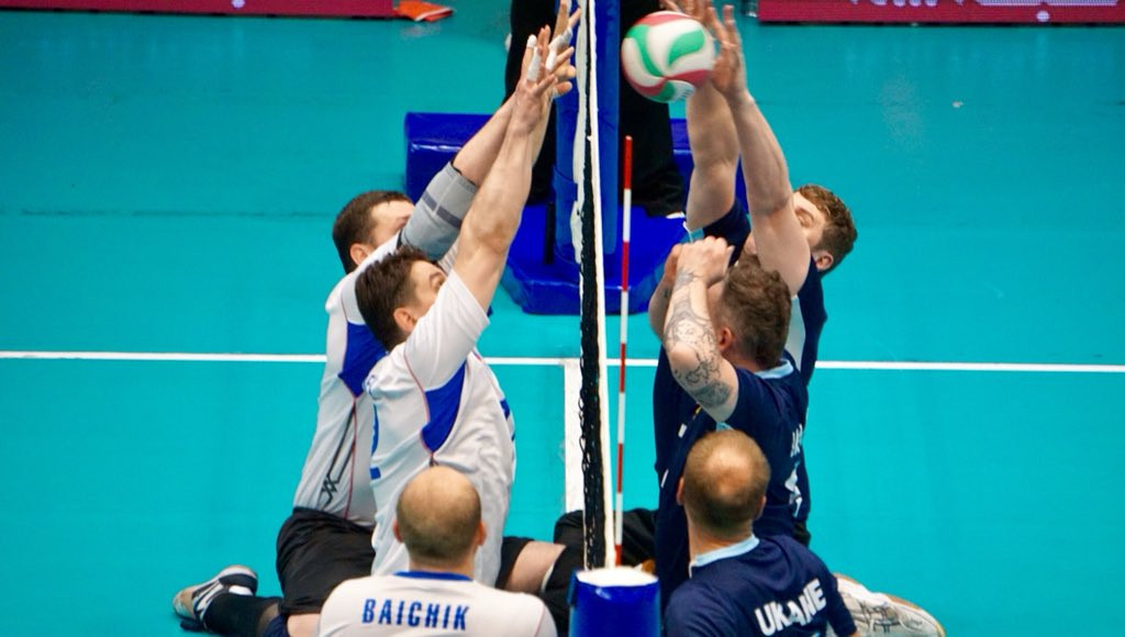 Russia, left, and Ukraine in action today in the final round of pool matches in the World Super 6 sitting volleyball tournament in Tabriz, Iran ©World ParaVolley