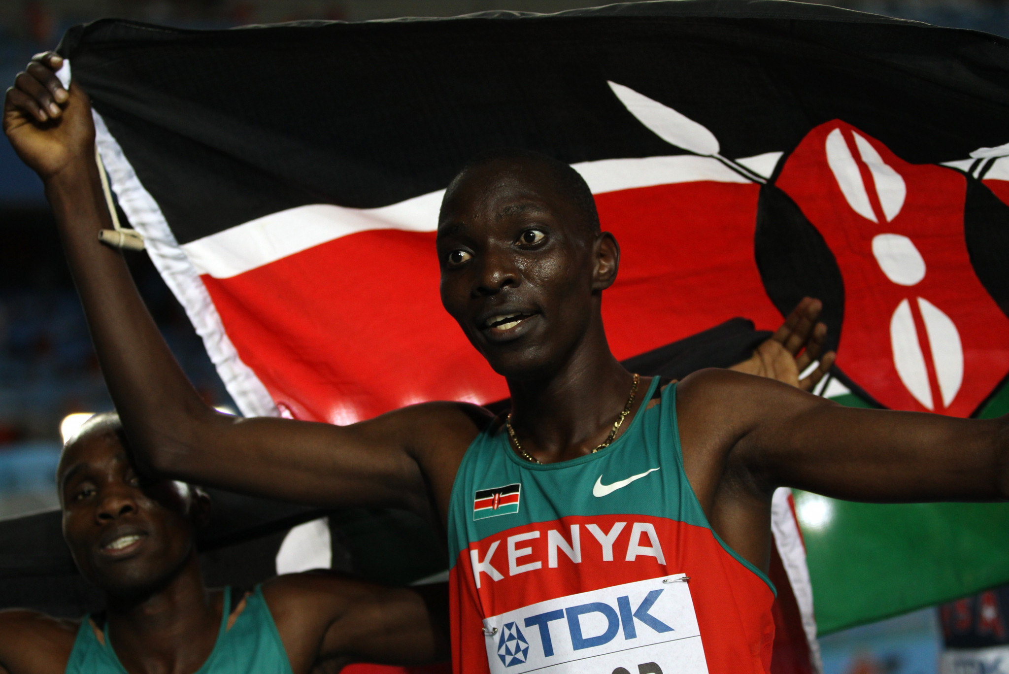 Asbel Kiprop celebrates winning the World Championship title in 2011 ©Getty Images