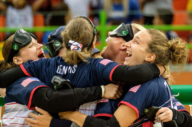 The US women's goalball team, pictured celebrating Rio 2016 gold, will be