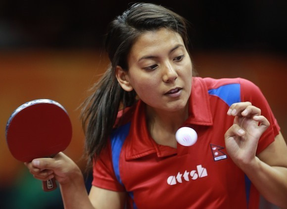Nepal's Elina Maharjan has been affected by the earthquake ©ITTF