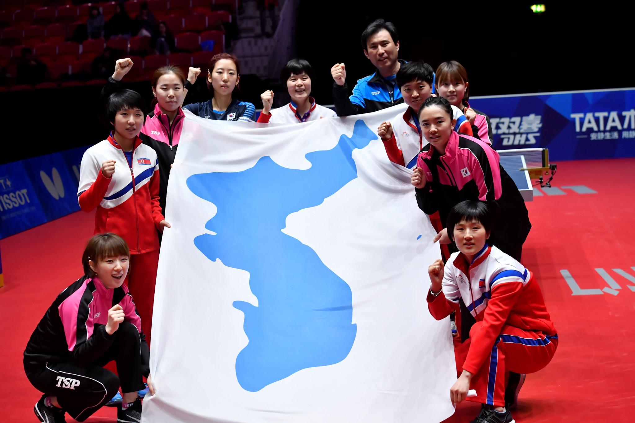 North and South Korean players participated together in an ad-hoc unified team in the semi-finals of the recent World Team Table Tennis Championships in Halmstad in Sweden ©Getty Images