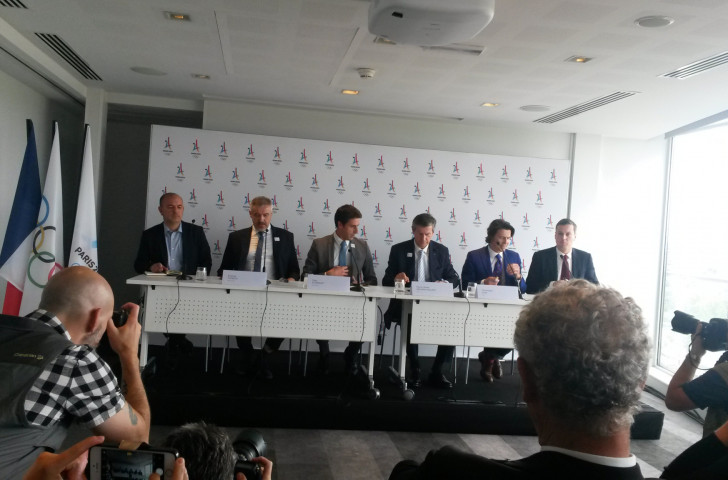 Pierre-Olivier Beckers-Vieujant, chairman of the visiting IOC Coordination Commission, third right, expressed a