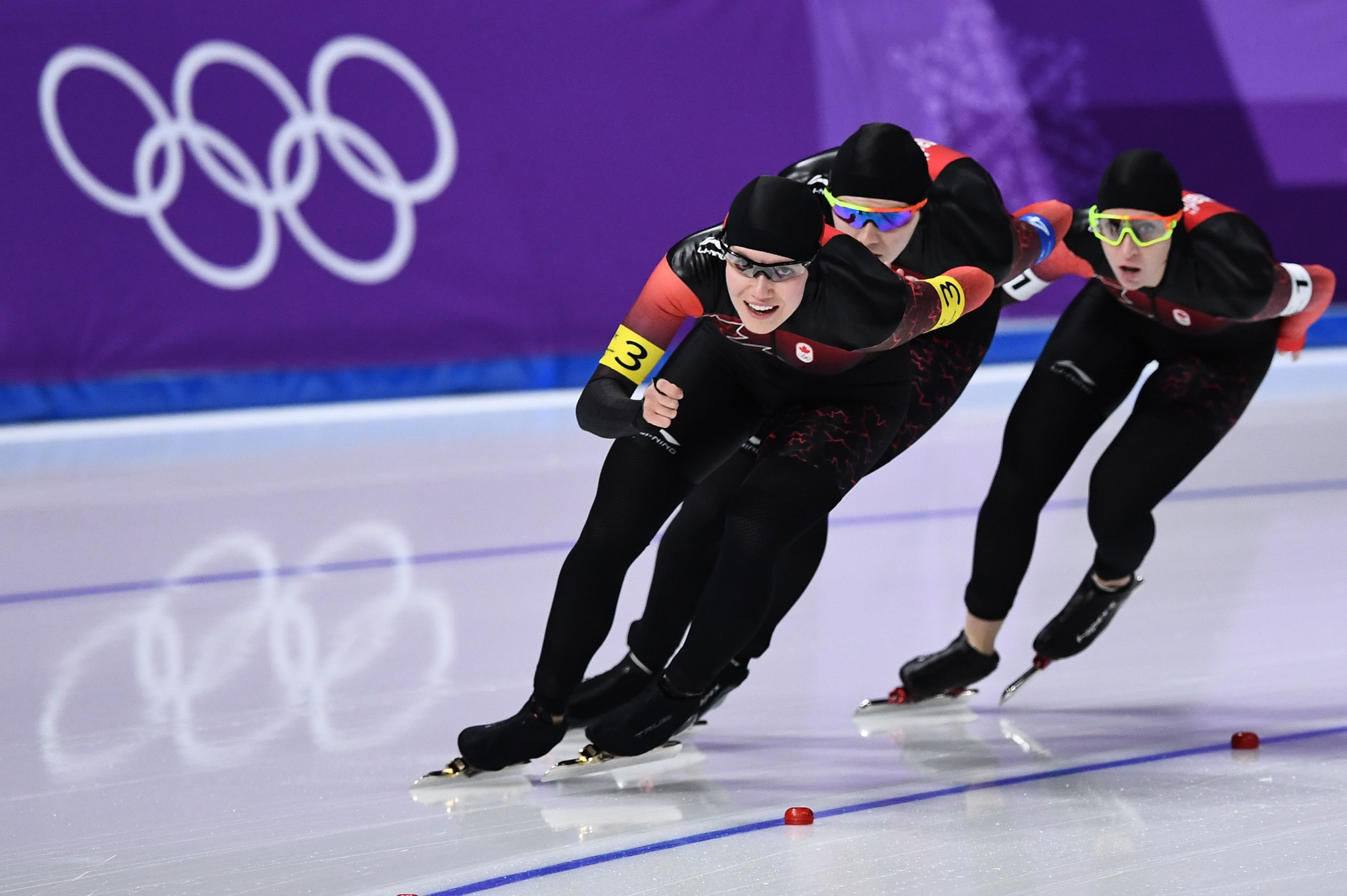 Josie Morrison, front, has retired from speed skating ©Getty Images