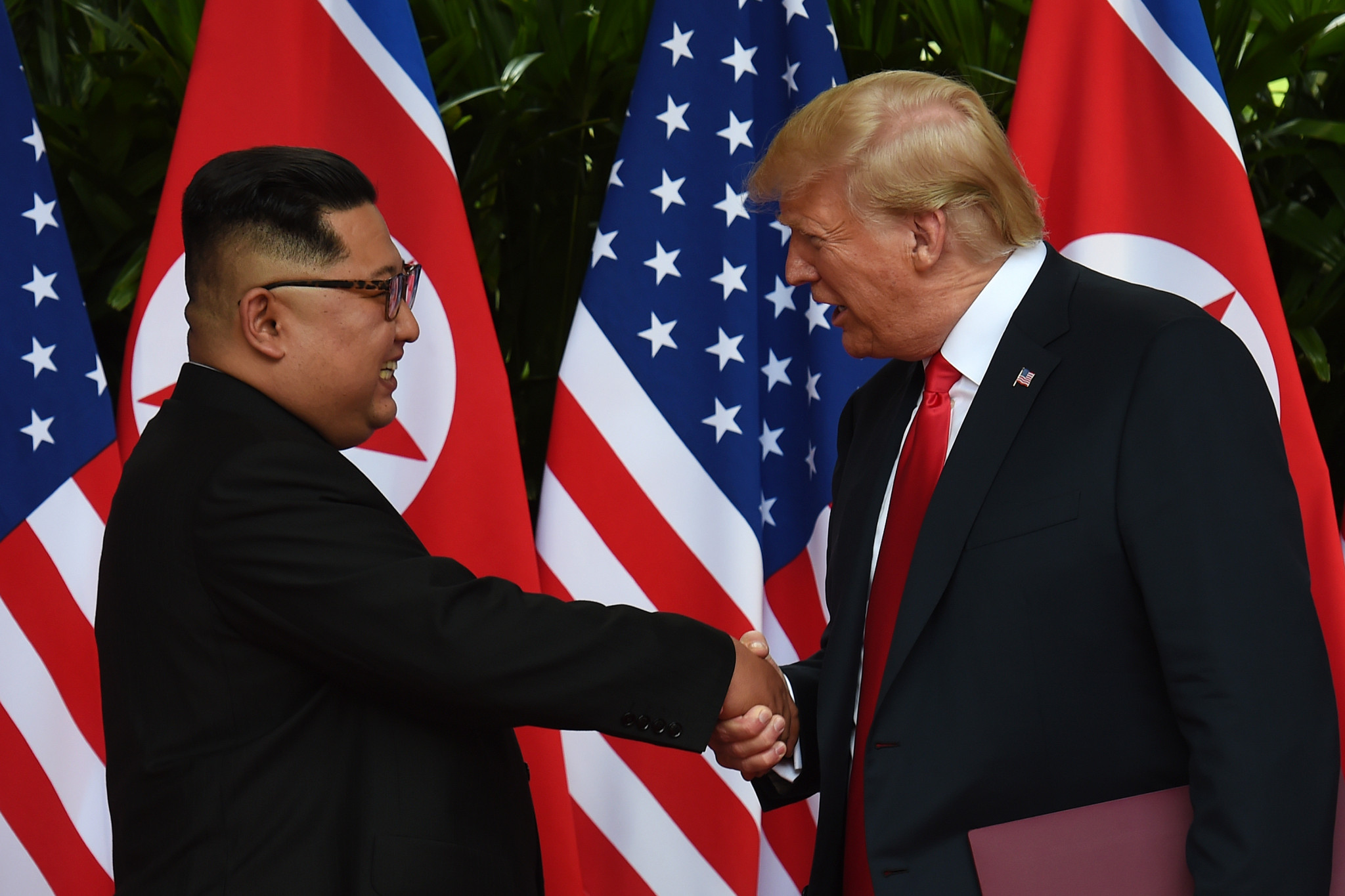 US President Donald Trump and North Korean leader Kim Jong-un held a historic summit in Singapore last month ©Getty Images