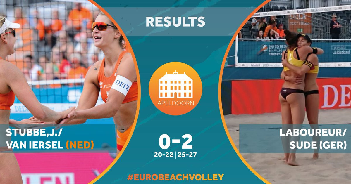 Top seeds Julia Sude and Chantal Laboureur beat home duo Marleen Ramond-van Iersel and Joy Stubbe today to progress through to the women's quarter-finals at the European Beach Volleyball Championships in The Netherlands ©DELA European Championship Beach V