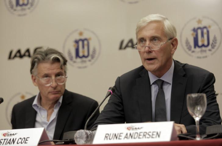 IAAF President Sebastian Coe looks on as IAAF Taskforce head Rune Andersen speaks on the subject of Russia after the IAAF Council meeting in Buenos Aires ©Getty Images