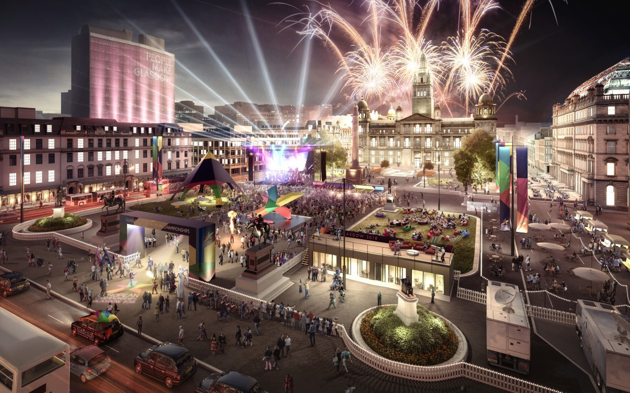 A projection of how the centre of Glasgow will look next month when it co-hosts the European Championships with Berlin ©European Championships