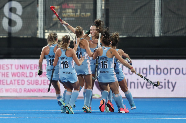 Argentina celebrate Maria Barrionuevo's opening goal in their 2-0 crossover win against New Zealand at the Women's World Cup, where they now meet Australia in the quarter-finals ©Getty Images