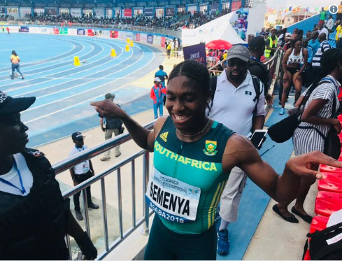Caster Semenya won the African 400m title in Asaba today in a South African record of 49.96 ©Twitter