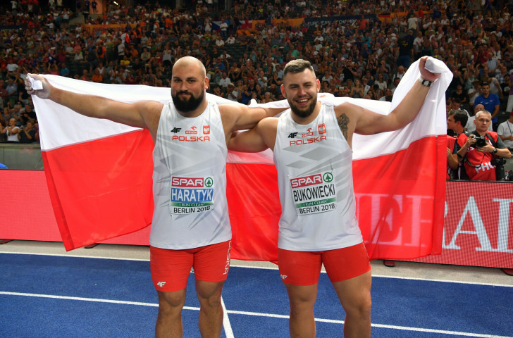 Big gains - Poland's Michal Haratyk, left, and Konrad Bukowiecki celebrate gold and silver in the shot put at the European Athletics Championships ©Getty Images