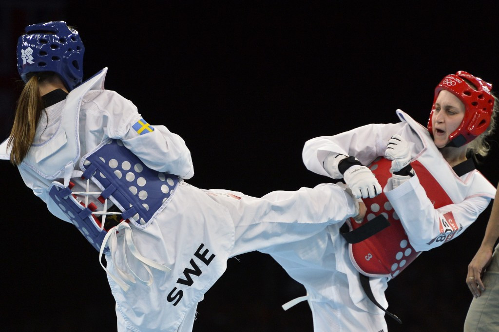 Elin Johansson (left) competing in the under 67kg competition at the London 2012 Olympic Games ©Getty Images