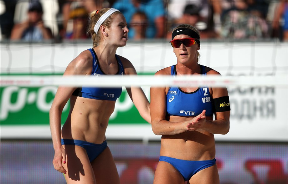 The United States' Summer Ross and Sara Hughes have made their first final together at the FIVB Moscow Open ©FIVB