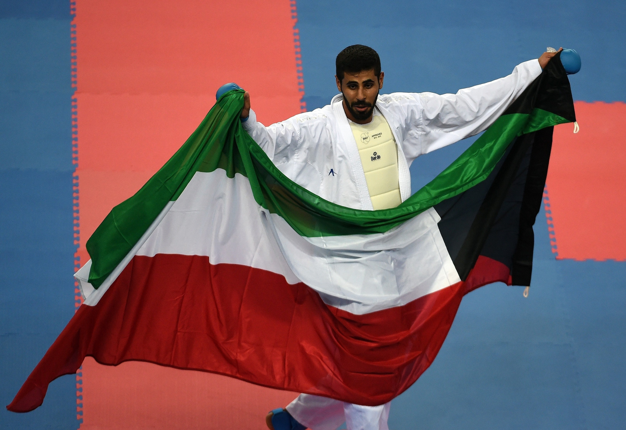 Rashed Al-Mutairi won one of Kuwait's three gold medals at the 2014 Asian Games in Incheon with victory in the men's kumite over-84 kilograms event in karate ©Getty Images