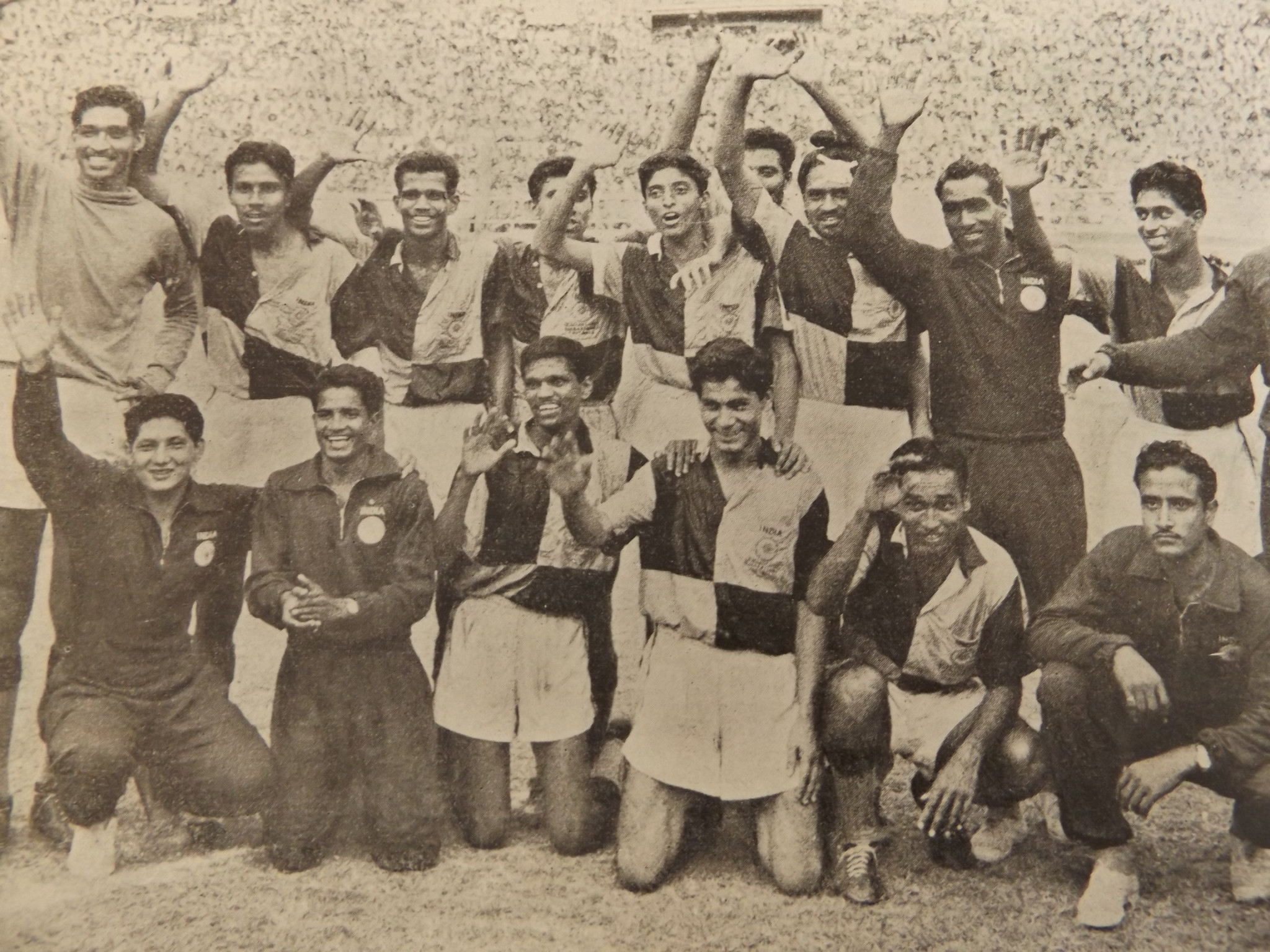 India celebrate their Asian Games gold medal in the football - a victory greeted with boos from local fans unhappy at criticism of their country and Government over their stance on Israel and Taiwan ©Official Report Jakarta 1962