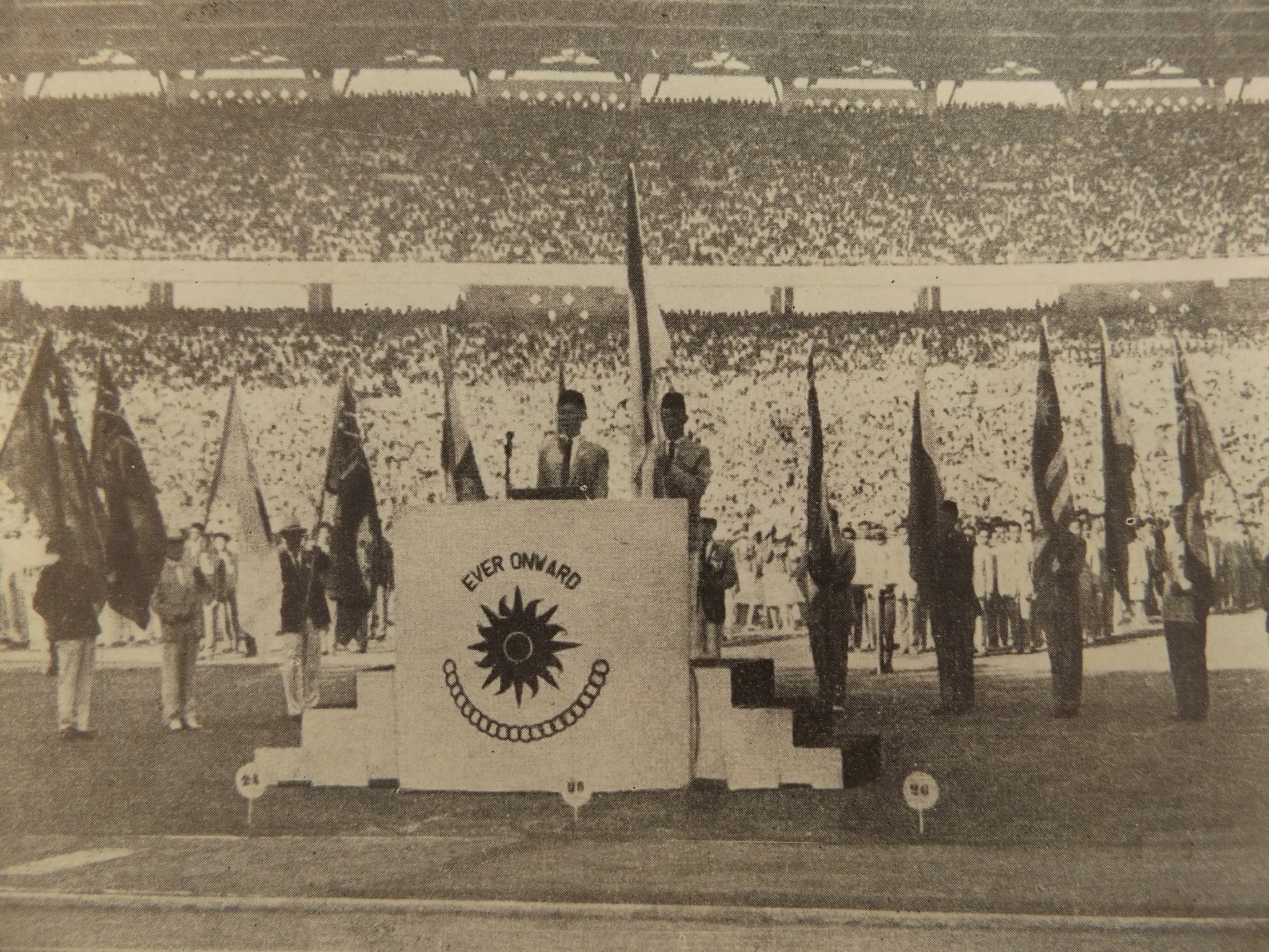 Indonesian badminton player Ferry Sonneville, read the Athletes' Oath during the Games' Opening Ceremony ©Official Report Jakarta 1962