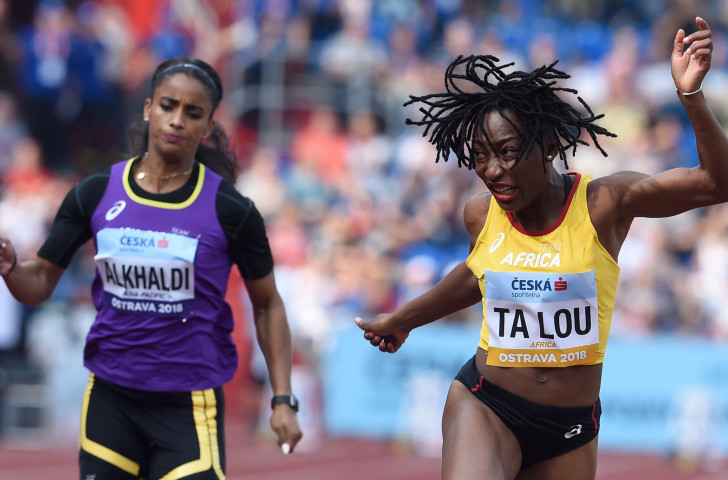 Marie-Josee Ta Lou wins the women's 100m for Team Africa at the Continental Cup - but she would later drop the baton while anchoring the sprint relay team ©Getty Images