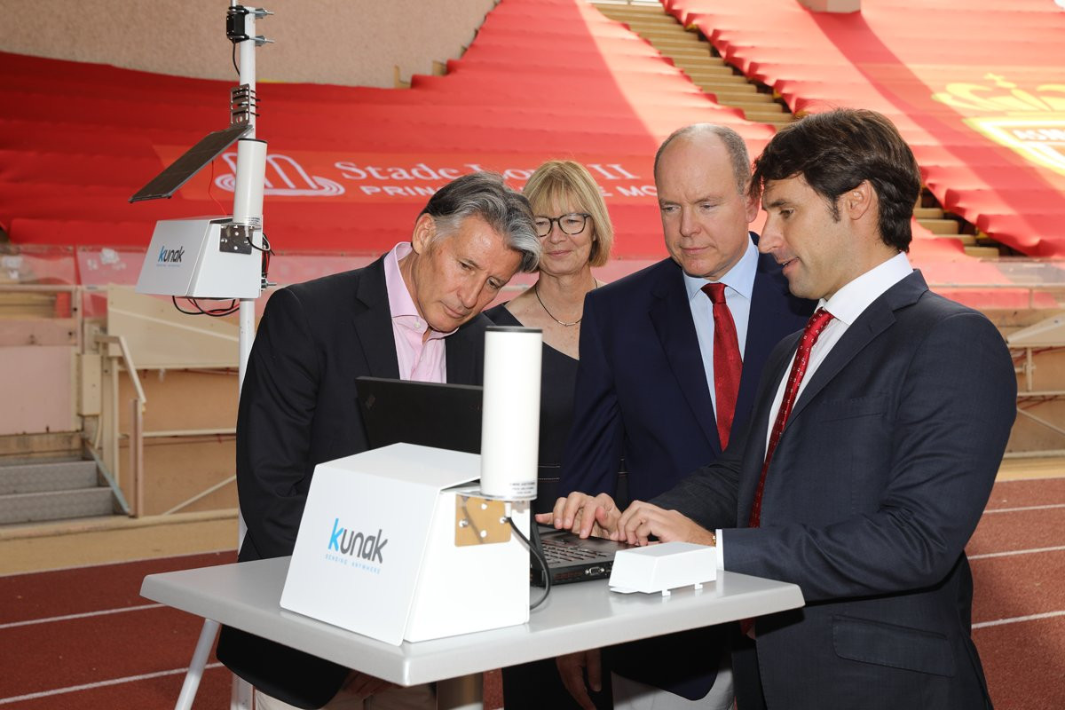 Prince Albert helps IAAF install air pollution monitor in Stade Louis II in Monaco