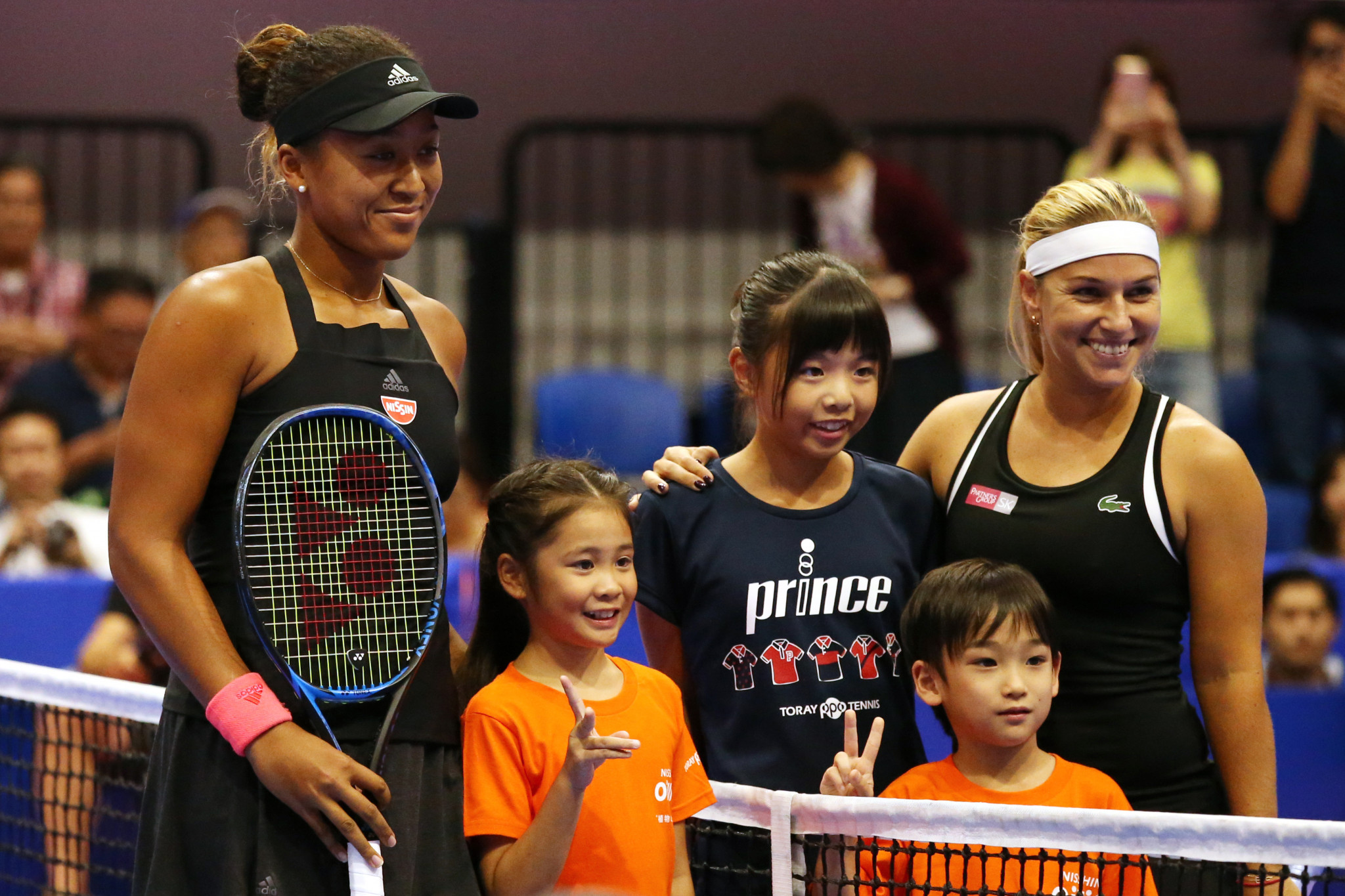Japan's newly-crowned US Open champion Naomi Osaka and the Czech Republic's Dominika Cibulková before the Pan Pacific Open second round match in Tokyo which the home player went on to win ©Getty Images