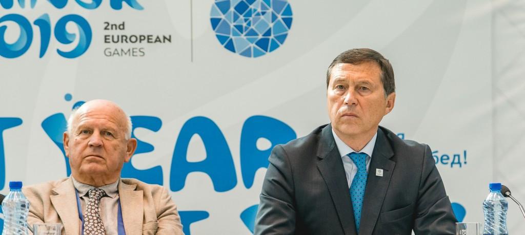 EOC President Janez Kocijančič, left, has confimred the bidding process is open for hosting of the European Games of 2023 ©EOC
