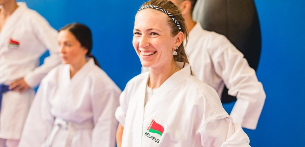 Minsk 2019 ambassador Domracheva switches biathlon for karate in latest promotional event
