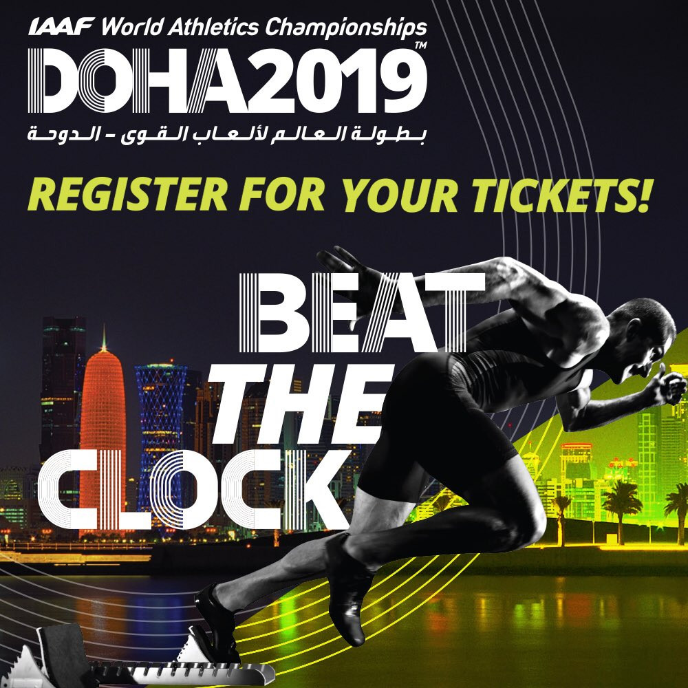 With a year to go until the IAAF World Championships are held in Doha, organisers have announced details of ticket deals ©Twitter