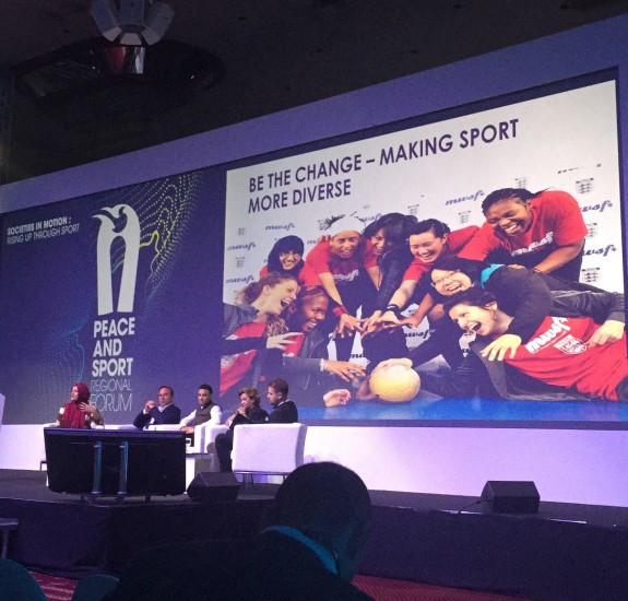 Rimla Akhtar, chair of the London-based Muslim Women's Sport Foundation, discussed the importance of ensuring diversity in sport ©Nancy Gillen/ITG