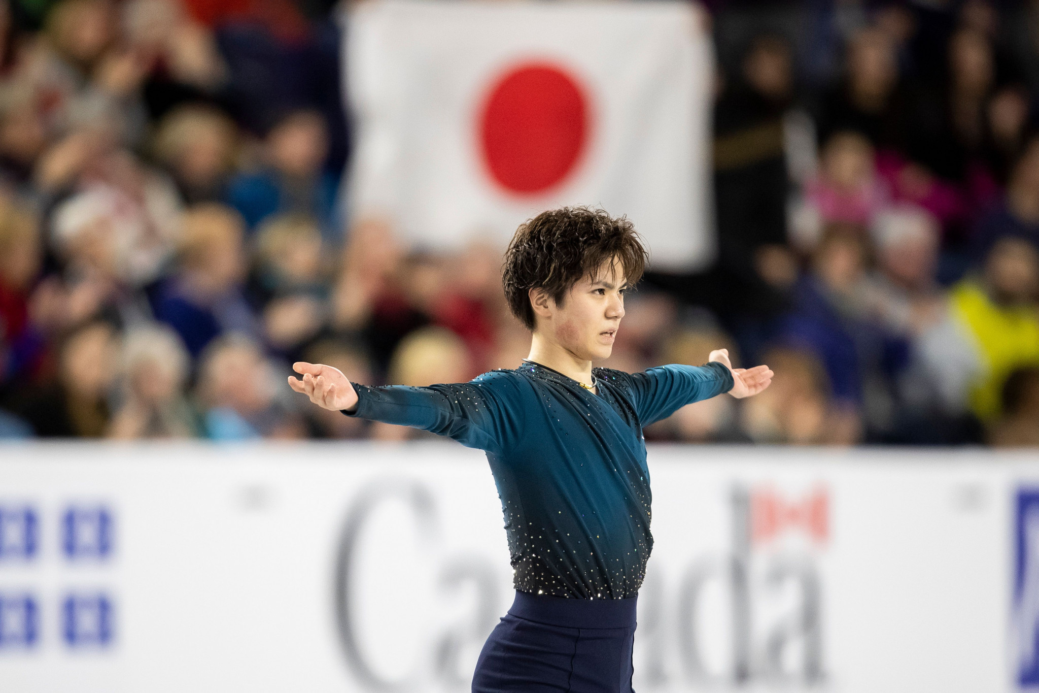 World and Olympic silver medallist Shoma Uno of Japan fought back in the free skating to take the men's gold medal at Skate Canada in Laval today ©Getty Images