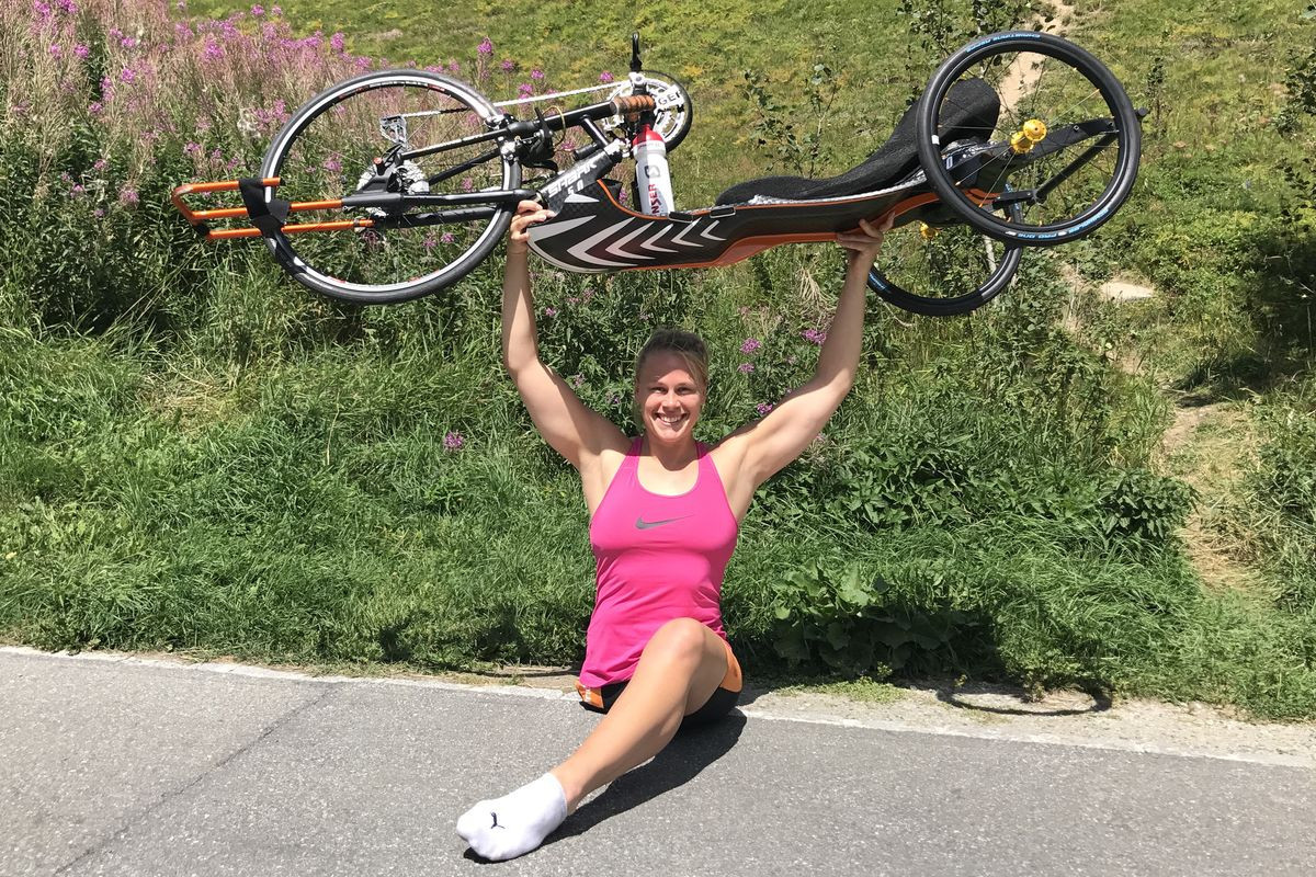 Christiane Reppe won gold at her debut Para triathlon World Cup event in Portugal ©German triathlon