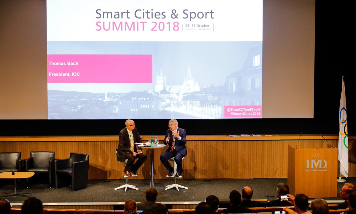 IOC President Thomas Bach spoke of the challenges of securing Winter Olympic hosts at the Smart Cities and Sport Summit ©IOC