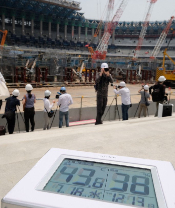 Temperature exceeded 40 degrees Celsius in July at the Olympic Stadium being built for Tokyo 2020 and there are fears it could have a major impact on the health of runners competing in the Olympic marathon ©Getty Images