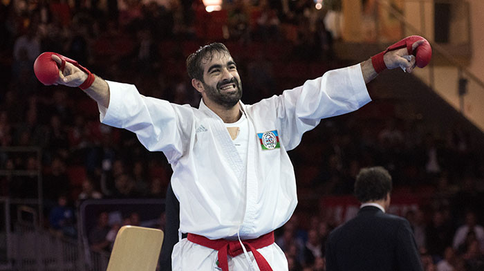 Rafael Aghayev of Azerbaijan goes in search of a record sixth kumite crown at the 2018 World Championships ©WKF