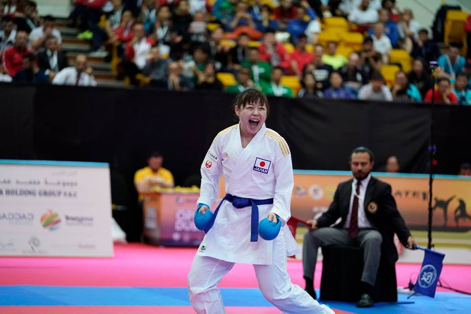 Japan's Ayumi Uekusa is on course for a successful defence of her title after she edged French opponent Anne Laure Florentin 2-0 in a hard-fought semi-final at the Karate World Championships in Madrid ©WKF