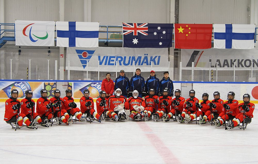 China will hope to secure promotion to Pool B when they meet Finland tomorrow ©Twitter/Para Ice Hockey
