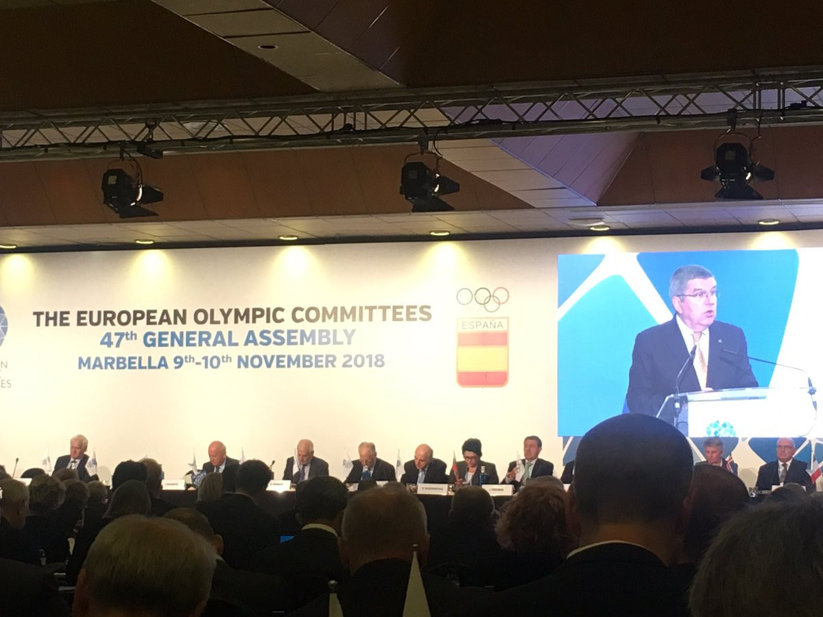 IOC President Thomas Bach called upon NOCs to defend the European Sport Model ©EOC
